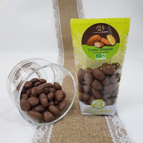 Coeur amande enrobé de chocolat caramel bio