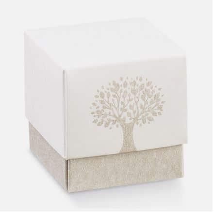 Boite cube avec couvercle motif arbre