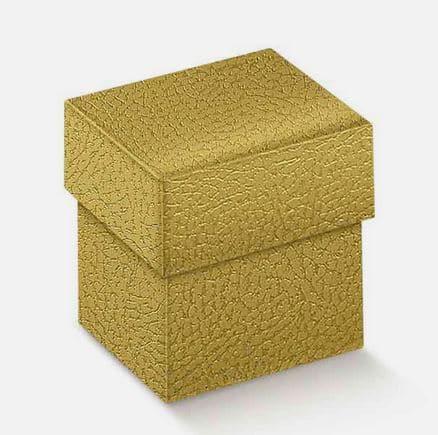 boite cube or effet cuir