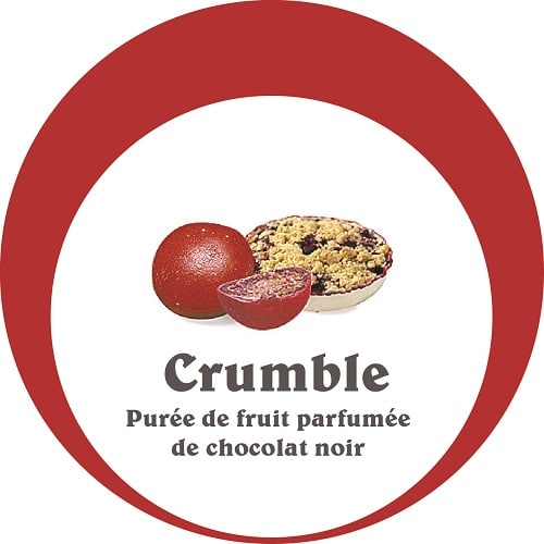 Dragées crumble fruits rouge, enrobée d'une fine couche de chocolat