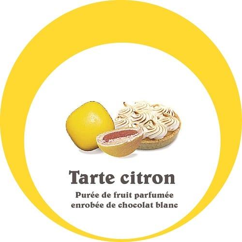 dragées tarte citron, purée de fruit enrobée de chocolat blanc