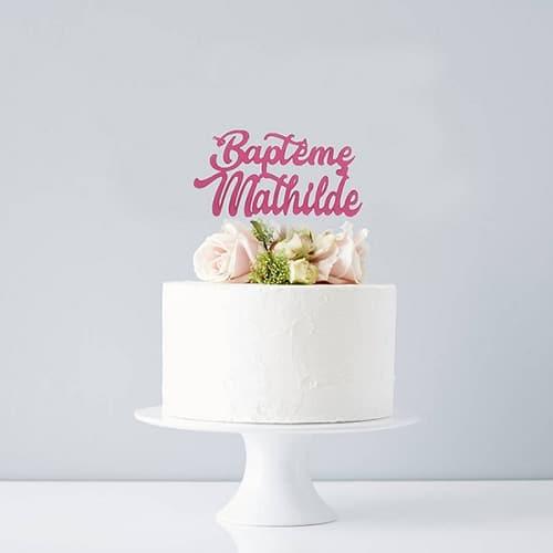 Cake topper Baptême