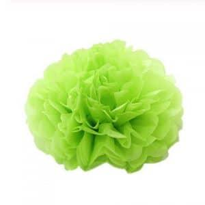 Pompom fleur en papier de soie vert