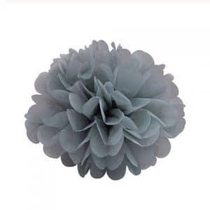 pompom fleur en papier de soie gris
