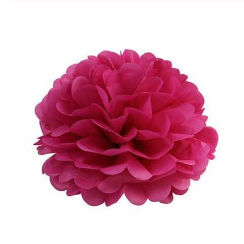 Pompom fleur en papier de soie fuchsia