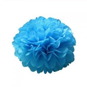 Pompom fleur en papier de soie bleu
